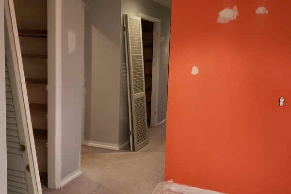 Painting orange color wall