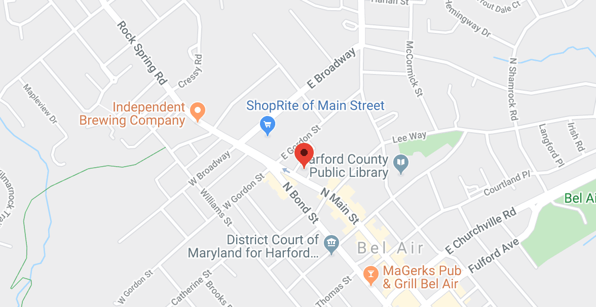 Map to 139 North Main Street Suite 301 Bel Air, MD 21014